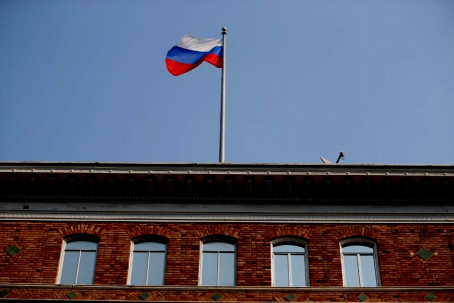 The Russian flag waves in the wind on the rooftop of the Consulate General of Russia in San Francisco of California in US. -Reuters File Photo