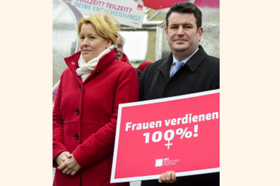 BERLIN: German Labour Minister Hubertus Heil and Family Minister Franziska Giffey attending a demonstration for the so-called Equal Pay Day in front of Berlin's Brandenburg gate on Friday— AFP