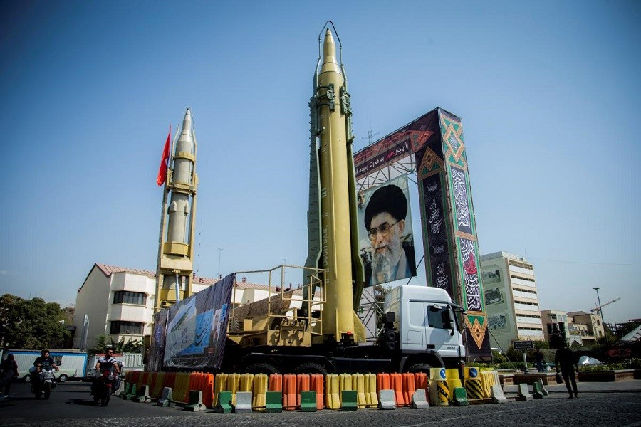 A display featuring missiles and a portrait of Iran's Supreme Leader Ayatollah Ali Khamenei is seen at Baharestan Square in Tehran, Iran September 27, 2017. Reuters/Files