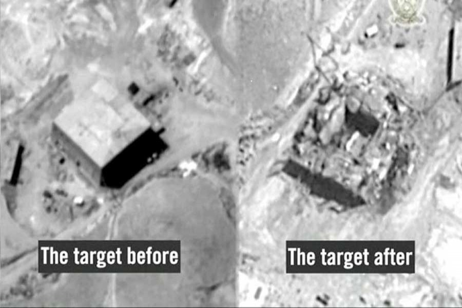 A still frame taken from video material released on March 21, 2018 shows a combination image of what the Israeli military describes is before and after an Israeli air strike on a suspected Syrian nuclear reactor site near Deir al-Zor on September 6, 2007. Reuters/Files