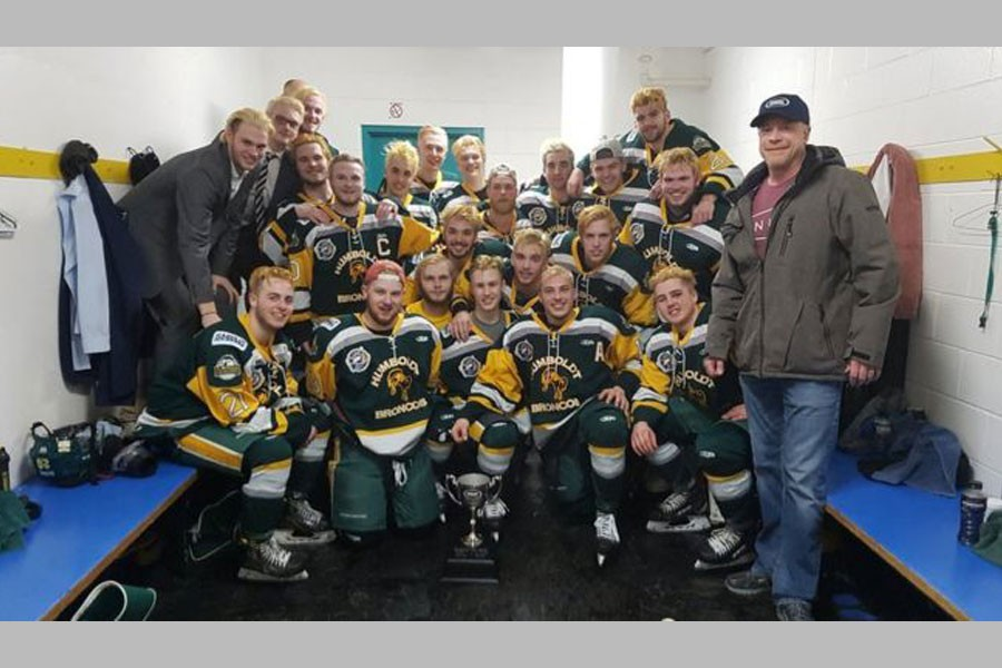 A photo posted to the team's Twitter feed on 24 March after a playoff win. Credit: Humboldt Broncos/BBC.