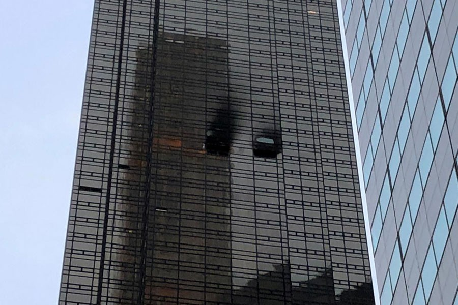 Trump Tower is pictured during a fire in the Manhattan borough of New York City, New York, US, April 7, 2018. Reuters.