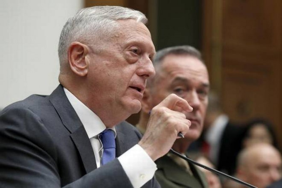 efence Secretary Jim Mattis (left), with Joint Chiefs Chairman Gen. Joseph Dunford, testify on the FY2019 budget during a hearing of the House Armed Services Committee on Capitol Hill, on Thursday, in Washington.   | Photo Credit: AP