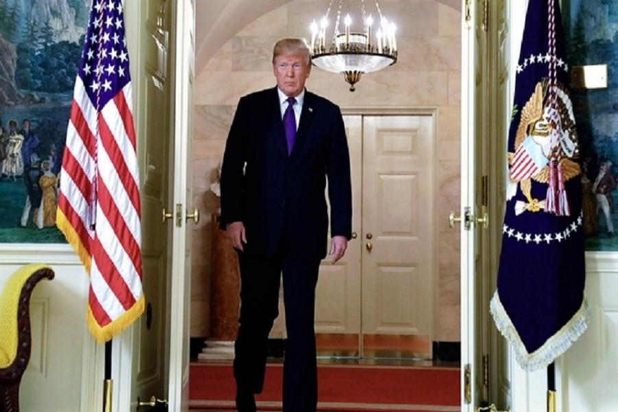 US President Donald Trump arrives to announce military strikes on Syria during a statement at the White House in Washington, US, Apr 13, 2018. Reuters