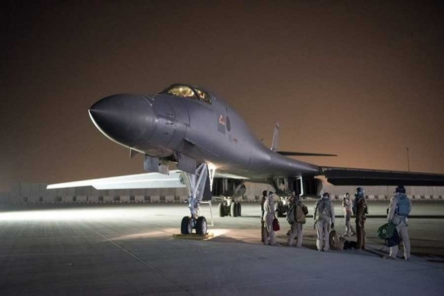 A US Air Force B-1B Lancer and crew, being deployed to launch strike as part of the multinational response to Syria's use of chemical weapons, is seen in this image released from Al Udeid Air Base, Doha, Qatar on April 14, 2018. US Air Force/Hhndout via Reuters