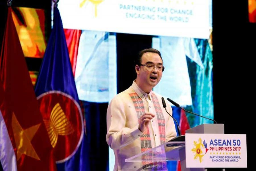 Philippine Foreign Secretary Alan Peter Cayetano speaks during the closing ceremony of the 50th Association of Southeast Asia Nations (ASEAN) Regional Forum (ARF) in Manila, Philippines August 8, 2017. Reuters/Files