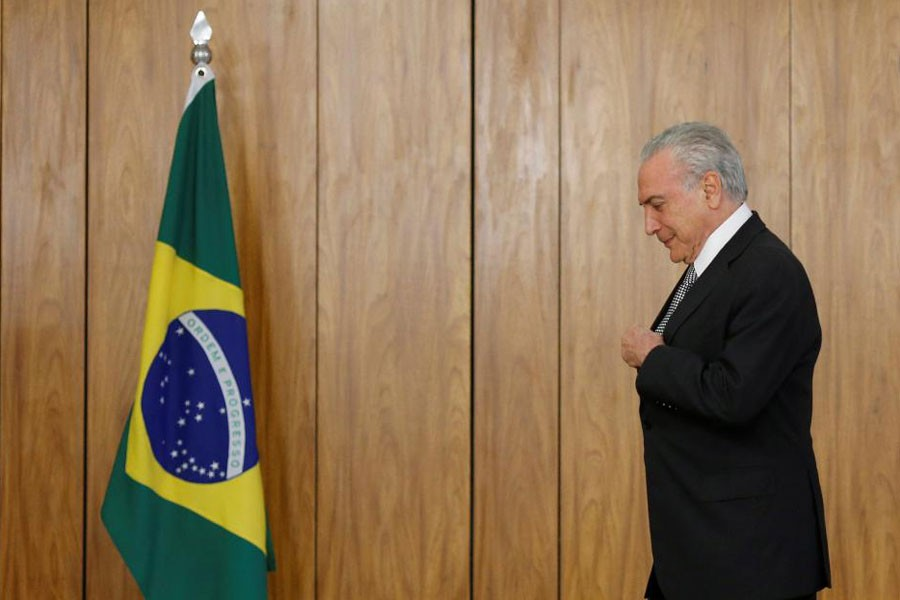 Brazil's President Michel Temer attends a credentials presentation ceremony for several new top diplomats at Planalto Palace in Brasilia, Brazil Abril 25, 2018. Reuters file photo.