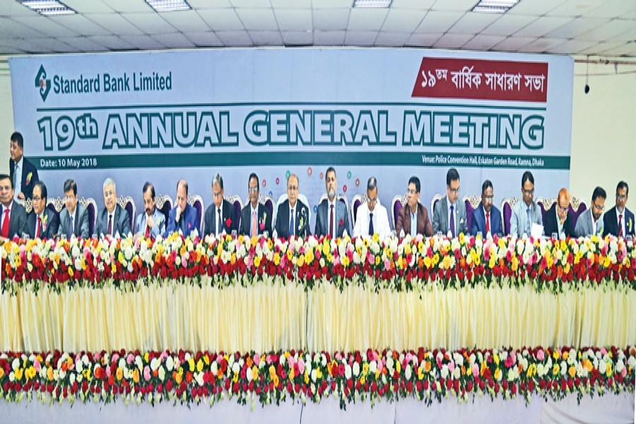 Chairman of Standard Bank Ltd. Kazi Akram Uddin Ahmed presiding over the 19th annual general meeting held in the city on Thursday