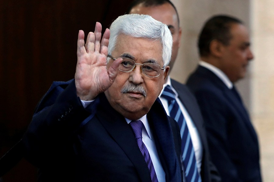 Palestinian President Mahmoud Abbas waves in Ramallah, in the occupied West Bank on May 1 last - Reuters photo