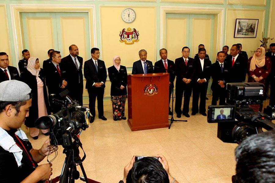 Malaysian Prime Minister Mahathir Mohamad addressing a news conference after a cabinet meeting in Putrajaya of Malaysia on Wednesday. -Reuters Photo