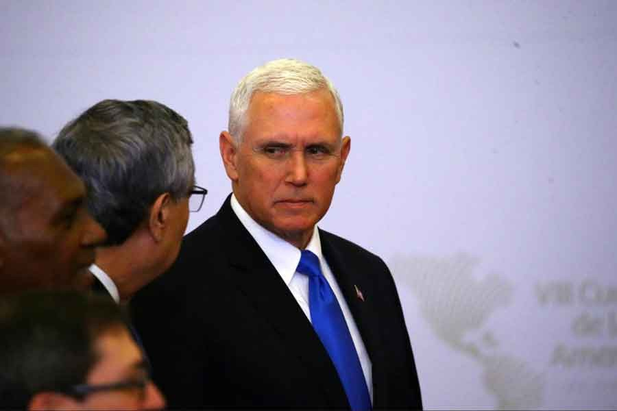 US Vice President Mike Pence attends the family photo of the VIII Summit of the Americas in Lima, Peru April 14, 2018. Reuters.