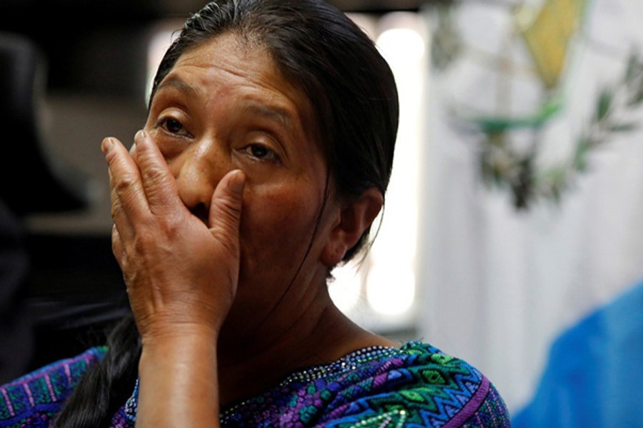 Dominga Vicente reacts during a news conference while talking about the killing of her relative Claudia Gomez, a Guatemalan immigrant killed by an US Border Patrol officer on Wednesday while entering illegally to Texas, during a news conference in Guatemala City, Guatemala May 25. Reuters/File