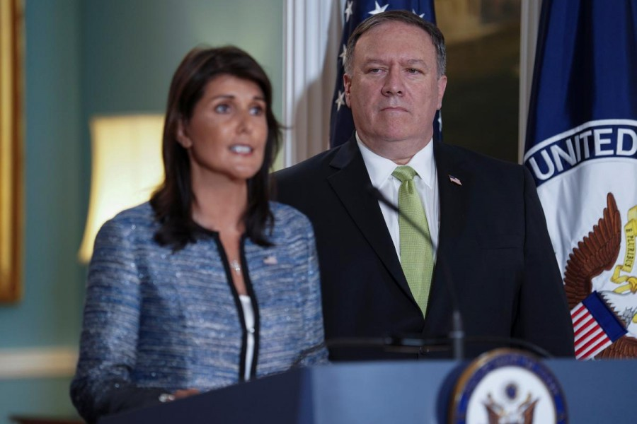 US Ambassador to the United Nations Nikki Haley delivers remarks to the press together with US Secretary of State Mike Pompeo, announcing the US's withdrawal from the UN's Human Rights Council at the Department of State in Washington, US, June 19, 2018. Reuters