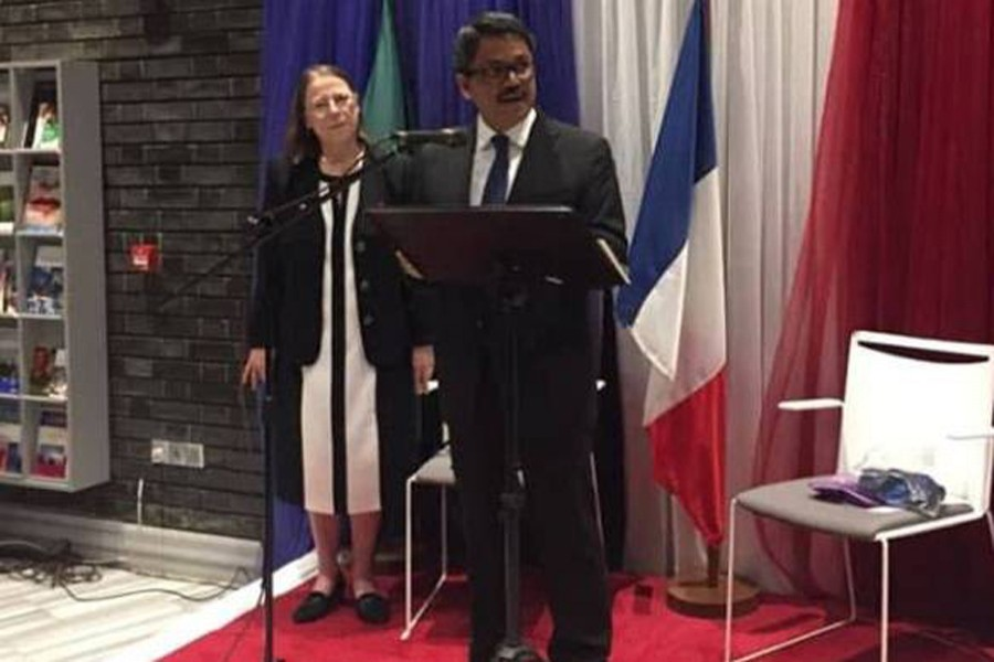 State Minister for Foreign Affairs M Shahriar Alam speaking at a reception marking the National Day of the French Republic, in Dhaka on Saturday, July 14. Photo: UNB