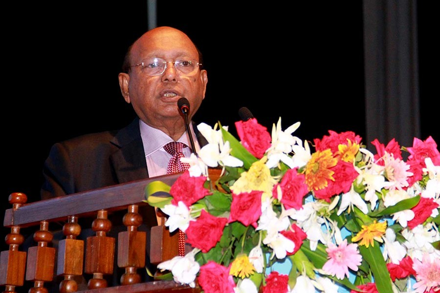 Commerce Minister Tofail Ahmed addressing the National Export Trophy distribution ceremony on Sunday. -Focus Bangla Photo