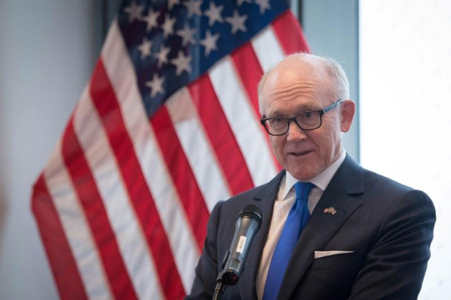 United States ambassador to the Court of St James Woody Johnson speaks during a press preview at the new United States embassy building near the River Thames in London, Britain December 13, 2017 – Reuters photo