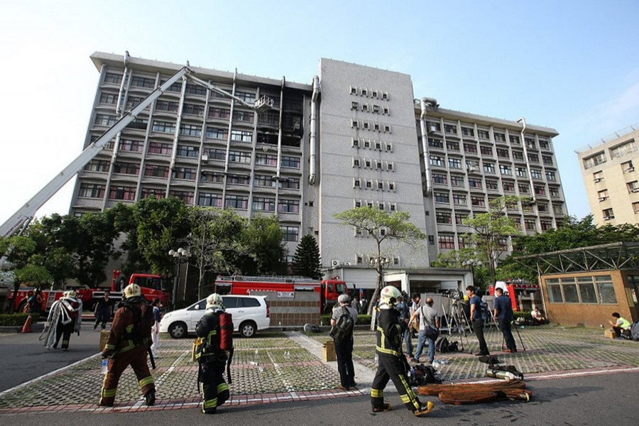 The fire broke out on in a ward on the seventh floor of the hospital — Twitter/China Plus News