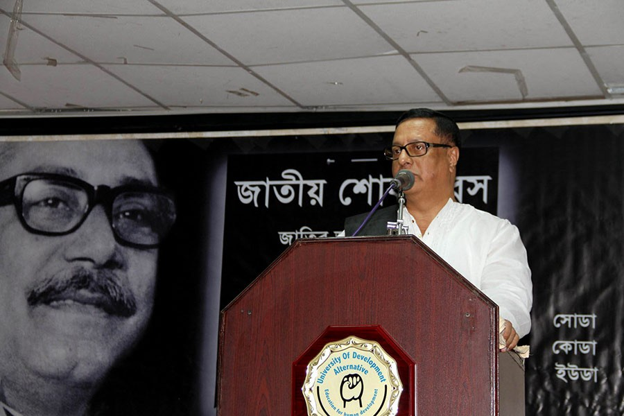 Founder and president of UODA Professor Mujib Khan addressing a programme marking National Mourning Day on Wednesday.