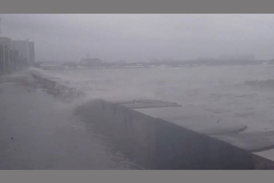 Water splashes over a seawall at Roxas Boulevard in Manila, Philippines, September 15, 2018 in this still image taken from video obtained from social media – Reuters