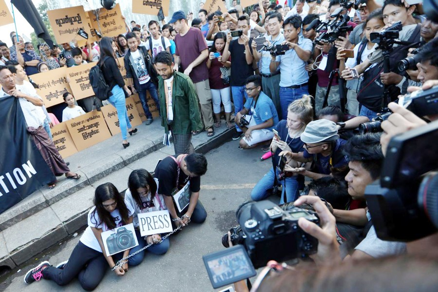 Myanmar press freedom advocates and youth activists holding a demonstration demanding the freedom of two jailed Reuters journalists in Yangon, Myanmar on Sunday	— Reuters