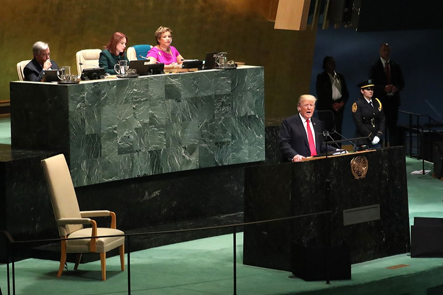 US President Donald Trump addressing the 73rd session of the United Nations General Assembly at UN headquarters in New York, US on Tuesday — Reuters photo