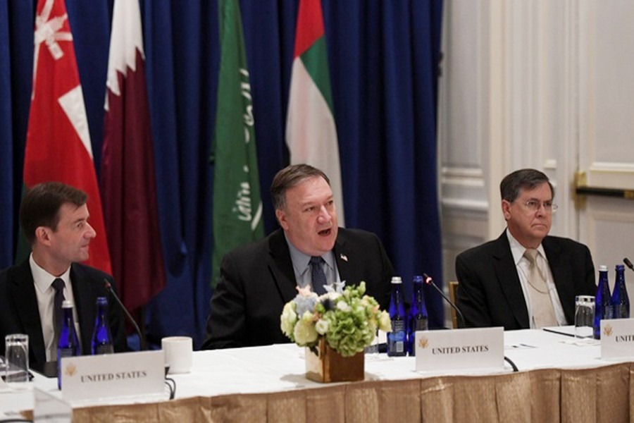 US Secretary of State Mike Pompeo (centre) speaking alongside US Ambassador David Satterfield (right) and Under Secretary of State for Political Affairs David Hale (left) while hosting a Gulf Cooperation Council summit on the sidelines of the United Nations General Assembly in New York City, US recently— Reuters