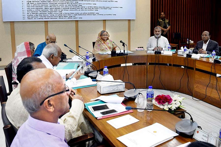 Prime Minister Sheikh Hasina presiding over the ECNEC meeting on Tuesday at NEC conference room in Dhaka. -Focus Bangla Photo