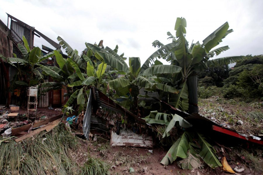 A damaged house is pictured following heavy rains in Tegucigalpa, Honduras, October 7, 2018 - Reuters