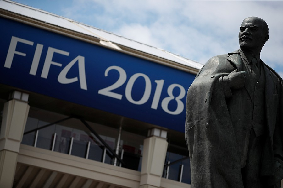 A statue of Vladimir Lenin is pictured outside the Luzhniki Stadium in Moscow, where the final match of the World Cup 2018 was held — Reuters/File