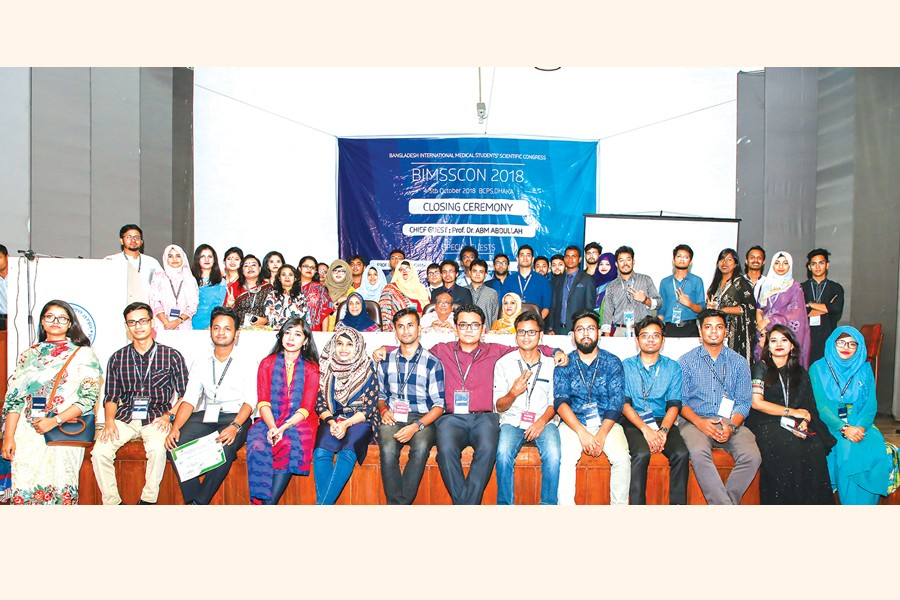 The organisers pose for a photo after the successful completion of Bangladesh Medical Students' Scientific Congress 2018
