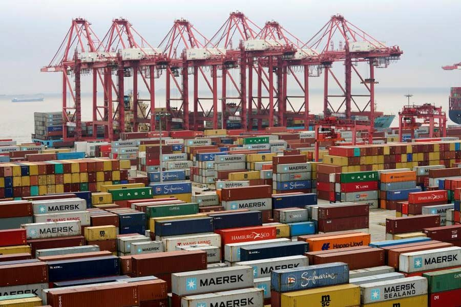 Containers are seen at the Yangshan Deep Water Port in Shanghai, China, April 24, 2018. Reuters/File Photo
