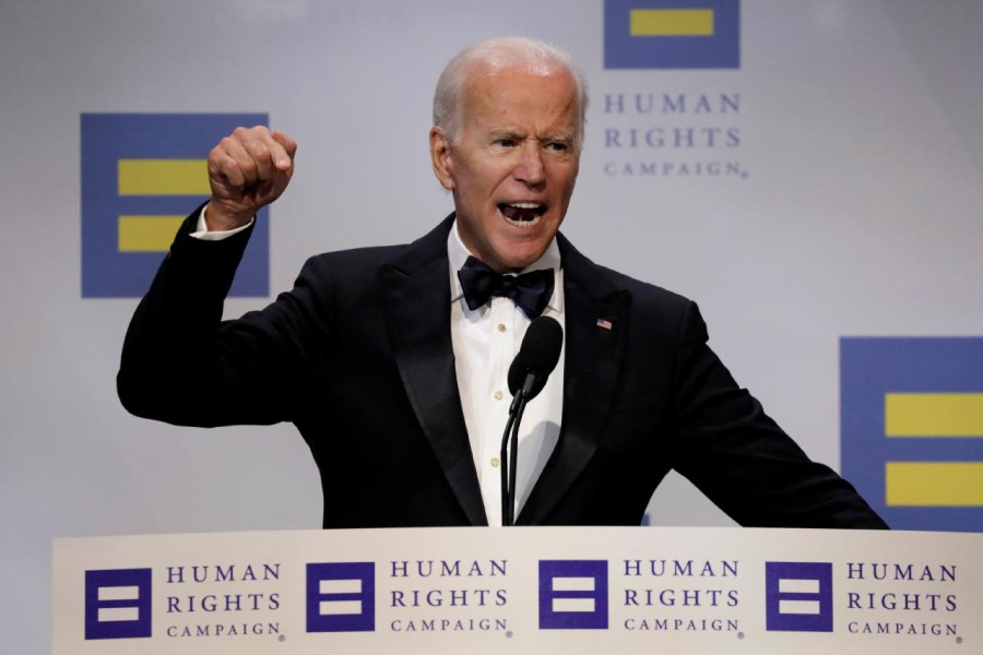 Former US Vice President Joe Biden addresses the Human Rights Campaign (HRC) dinner in Washington, DC, US on September 15, 2018 — Reuters/File