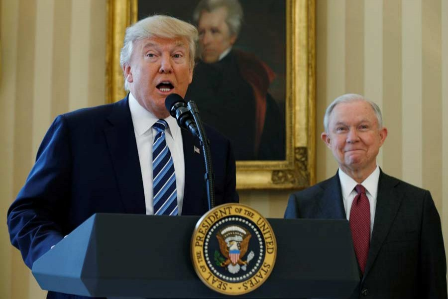 US President Donald Trump speaks during a swearing-in ceremony for new Attorney General Jeff Sessions (R) at the White House in Washington, US, February 9, 2017. Reuters/File Photo