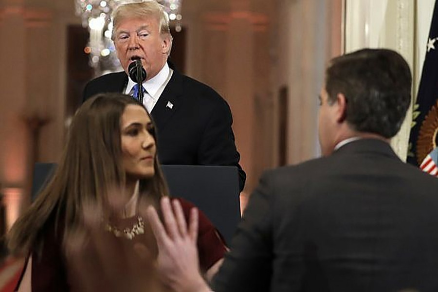 """A visibly angry Donald Trump had branded Jim Acosta an """"enemy of the people"""" on national television. Internet photo"""
