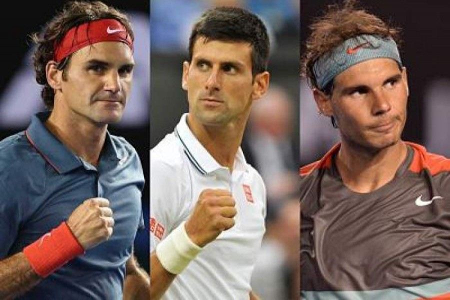 (From left to right) Federer, Djokovic, and Nadal are seen in this photo collage — Collected