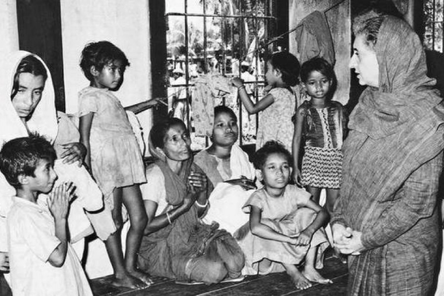 Indian Prime Minister Indira Gandhi visiting camps sheltering refugees from the then East Pakistan during a two-day visit to Silchar and Agartala in May 1971.