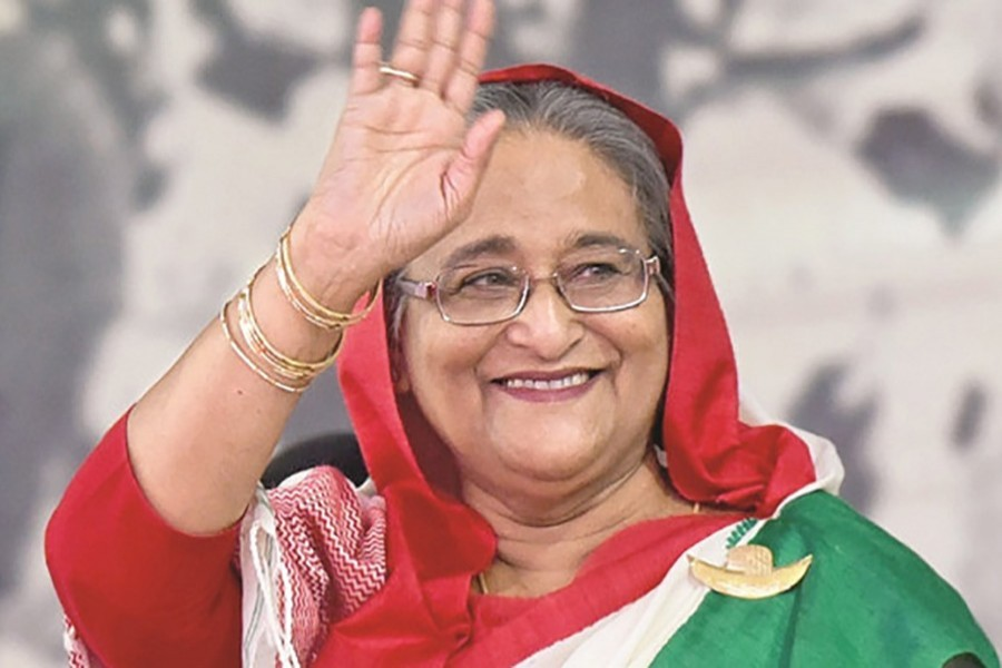 Prime Minister Sheikh Hasina seen waving her hand in this undated UNB photo