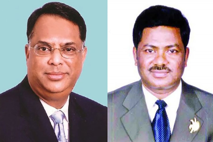 BNP leaders Iqbal Hasan Mahmud Tuku (L) and Ruhul Kuddus Talukdar Dulu are seen in this photo collage