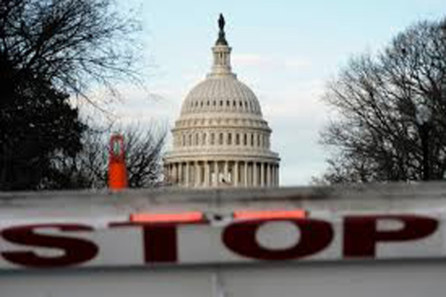 A security barricade is placed in front of the US Capitol on the first day of a partial federal government shutdown in Washington, US, December 22, 2018. Reuters