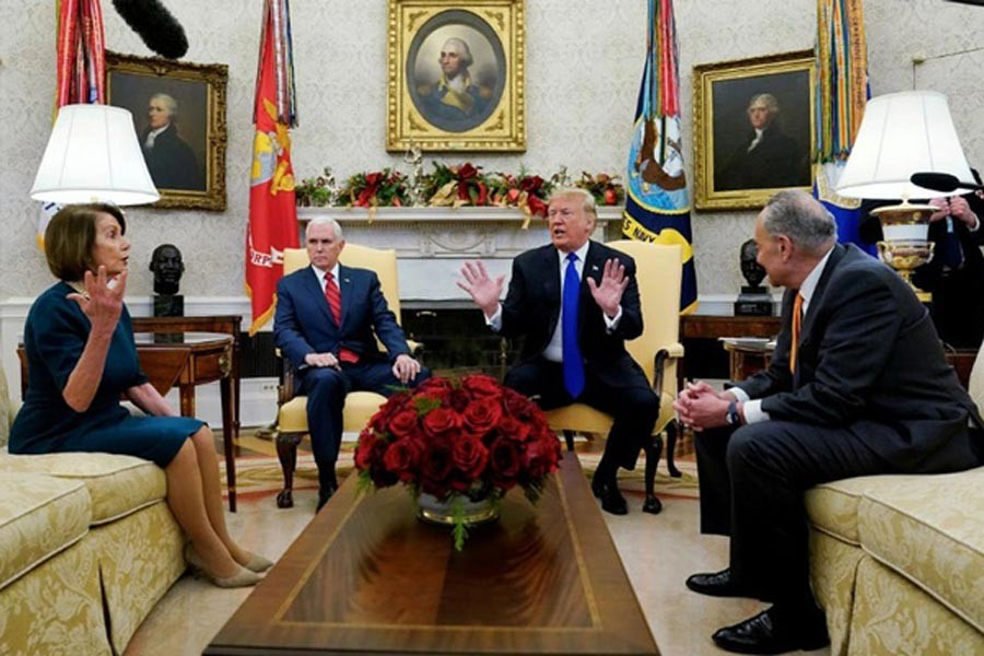 WASHINGTON: President Donald Trump and top Democrats in Congress sparring over the partial shutdown of the US government on Monday    — Reuters