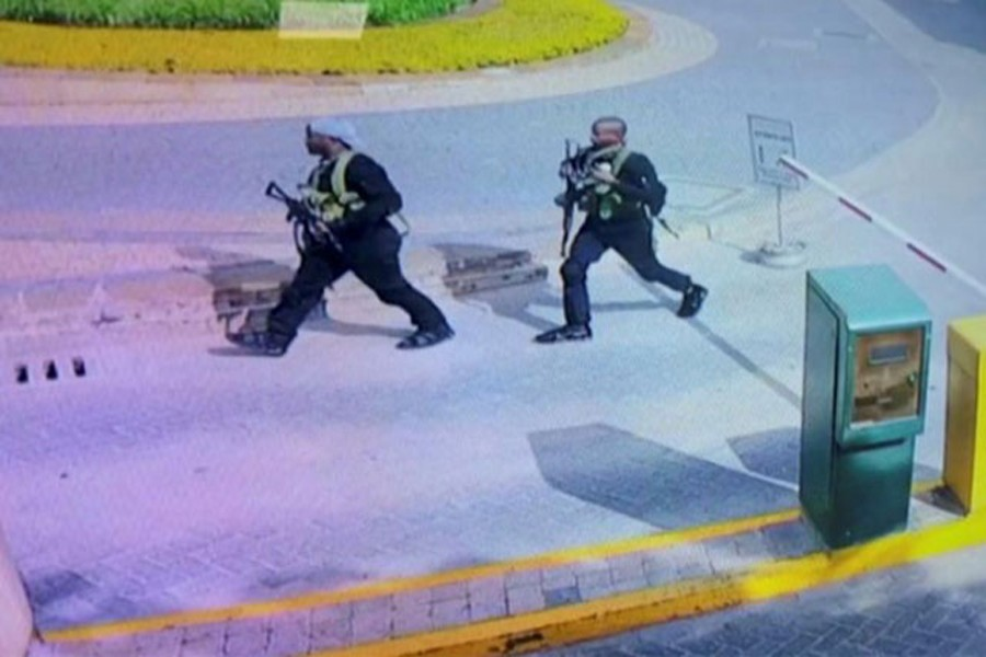 Two of the gunmen are pictured as they made their way into a hotel and office complex in Nairobi, Kenya, January 15, 2019, in this still image taken from a CCTV footage obtained by Reuters TV on January 16, 2019.
