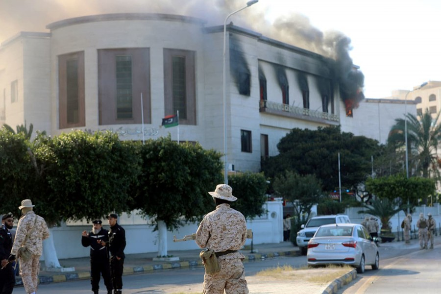 Security forces stand around the headquarters of Libya's foreign ministry after a suicide attack in Tripoli, Libya on December 25 last — Reuters photo used for representation