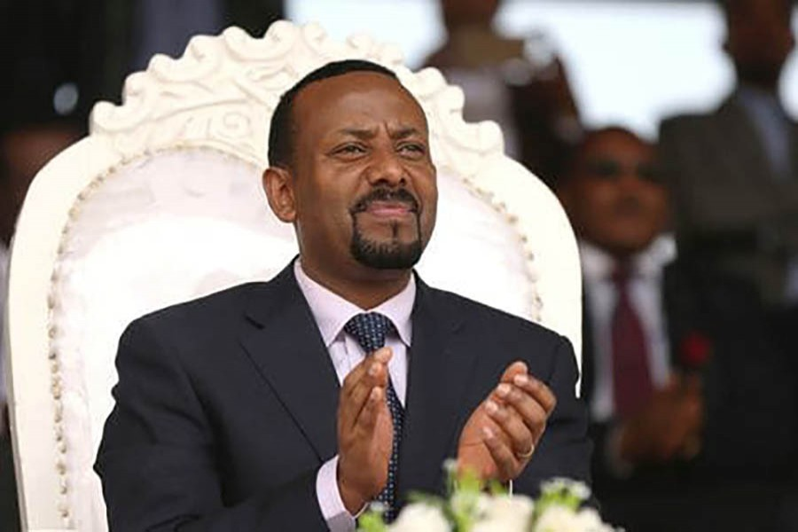 Prime Minister Abiy Ahmed attends a rally during his visit to Ambo in the Oromiya region, Ethi­o­pia, on April 11. Reuters photo