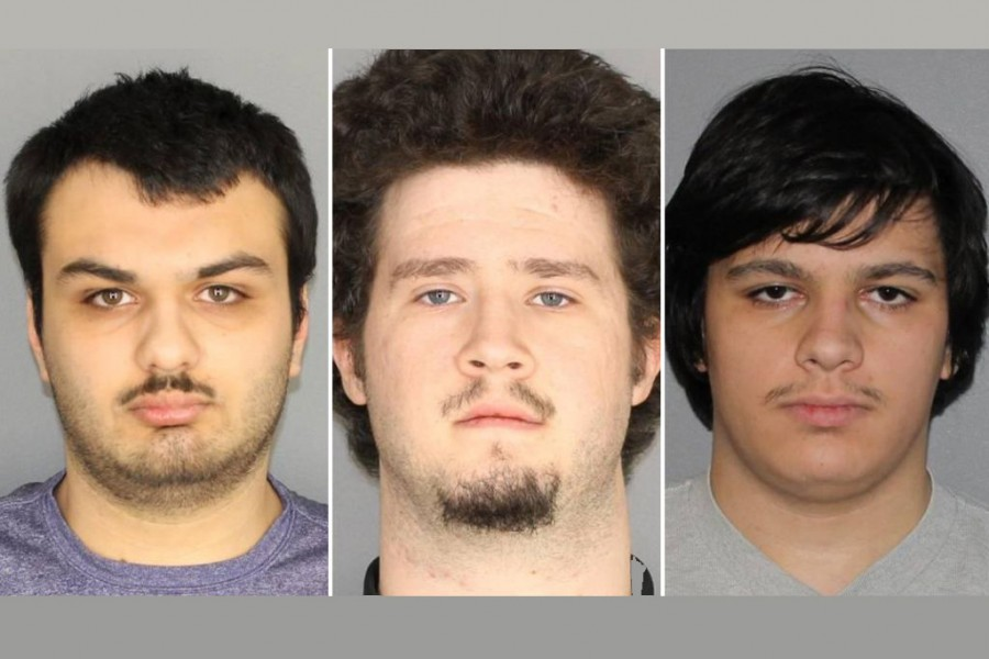 (From left to right) Vincent Vetromile, 19, of Greece, New York, Brian Colaneri, 20, of Gates, New York, and Andrew Crysel of East Rochester, New York arrested after planning to bomb a Muslim community in upstate New York according to authorities, are shown in these photos provided on Tuesday. Greece New York Police Department handout via Reuters