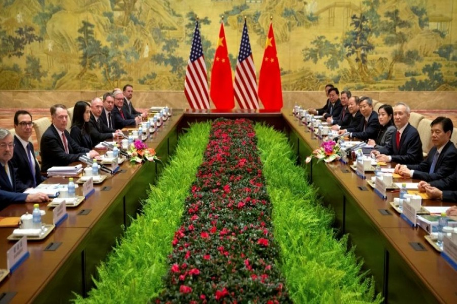 US Treasury Secretary Steven Mnuchin, second from left, US Trade Representative Robert Lighthizer, third from left, and Chinese Vice Premier and lead trade negotiator Liu He, second from right, pose for a photo before the opening session of trade negotiations at the Diaoyutai State Guesthouse in Beijing, Thursday, Feb 14, 2019 - Reuters
