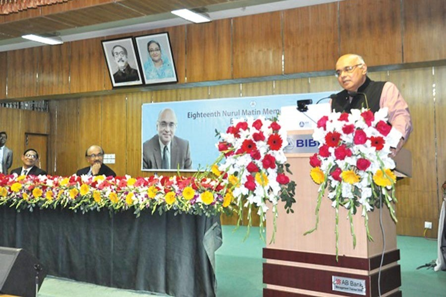 World Bank Country Director for India Dr Junaid Kamal Ahmad delivering Nurul Matin Memorial Lecture on 'Ethics in Banking' at Bangladesh Institute of Bank Management (BIBM) in the capital on Monday with Bangladesh Bank Governor Fazle Kabir and BIBM Director General Abdur Rahim present
