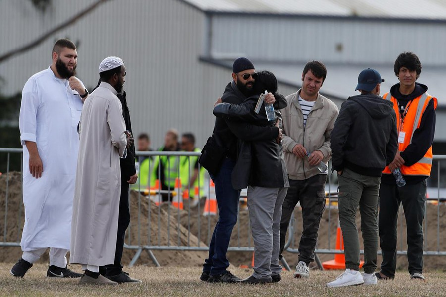 Relatives and other people arrive to attend the burial ceremony of the victims of the mosque attacks, at the Memorial Park Cemetery in Christchurch, New Zealand on March 20, 2019 — Reuters photo