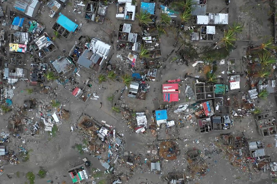A general view shows destruction after Cyclone Idai in Beira, Mozambique, March 16-17, 2019 in this still image taken from a social media video on March 19, 2019 — Care International via Reuters