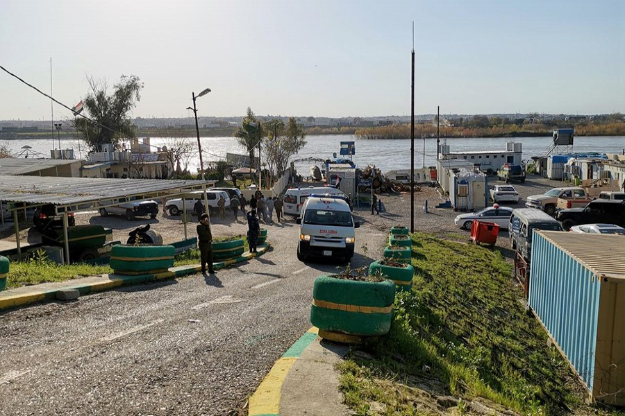 General view of the scene where an overloaded ferry sank in the Tigris river near Mosul in Iraq on March, 21,2019 — Reuters