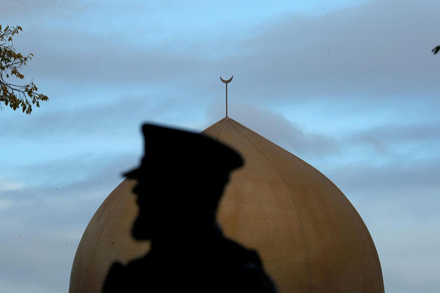 A police officer is pictured outside Masjid Al Noor mosque in Christchurch, New Zealand on March 17, 2019 — Reuters photo